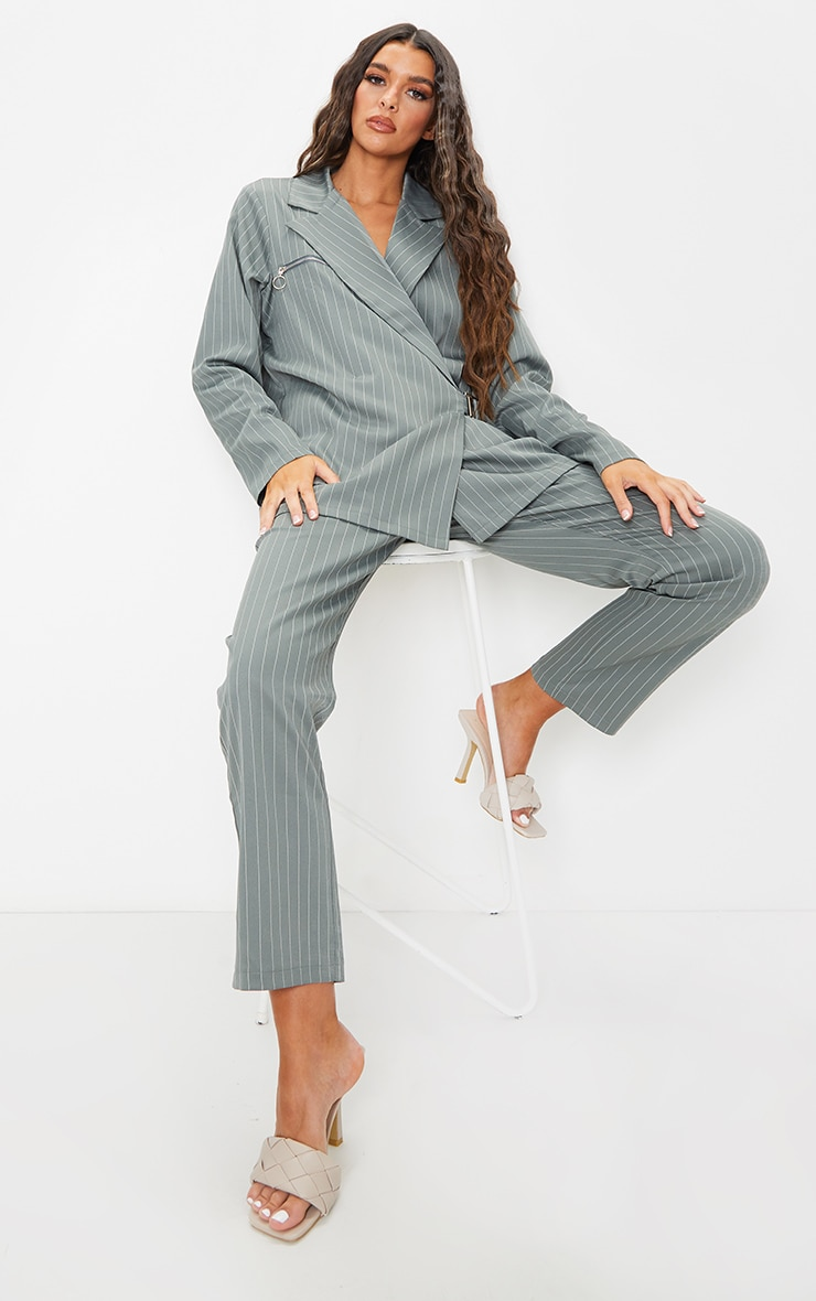 Teal Pinstripe Belted Straight Leg Trousers 1