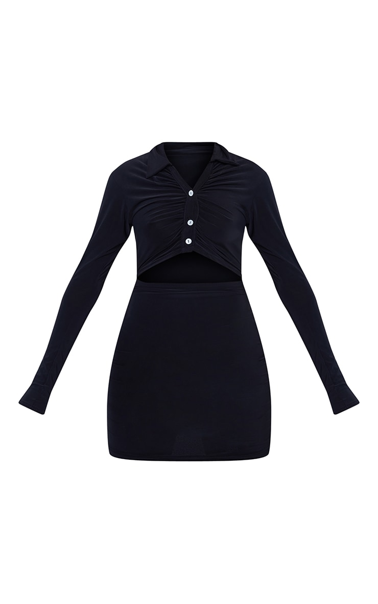 Black Collared Cut Out Long Sleeve Bodycon Dress 5