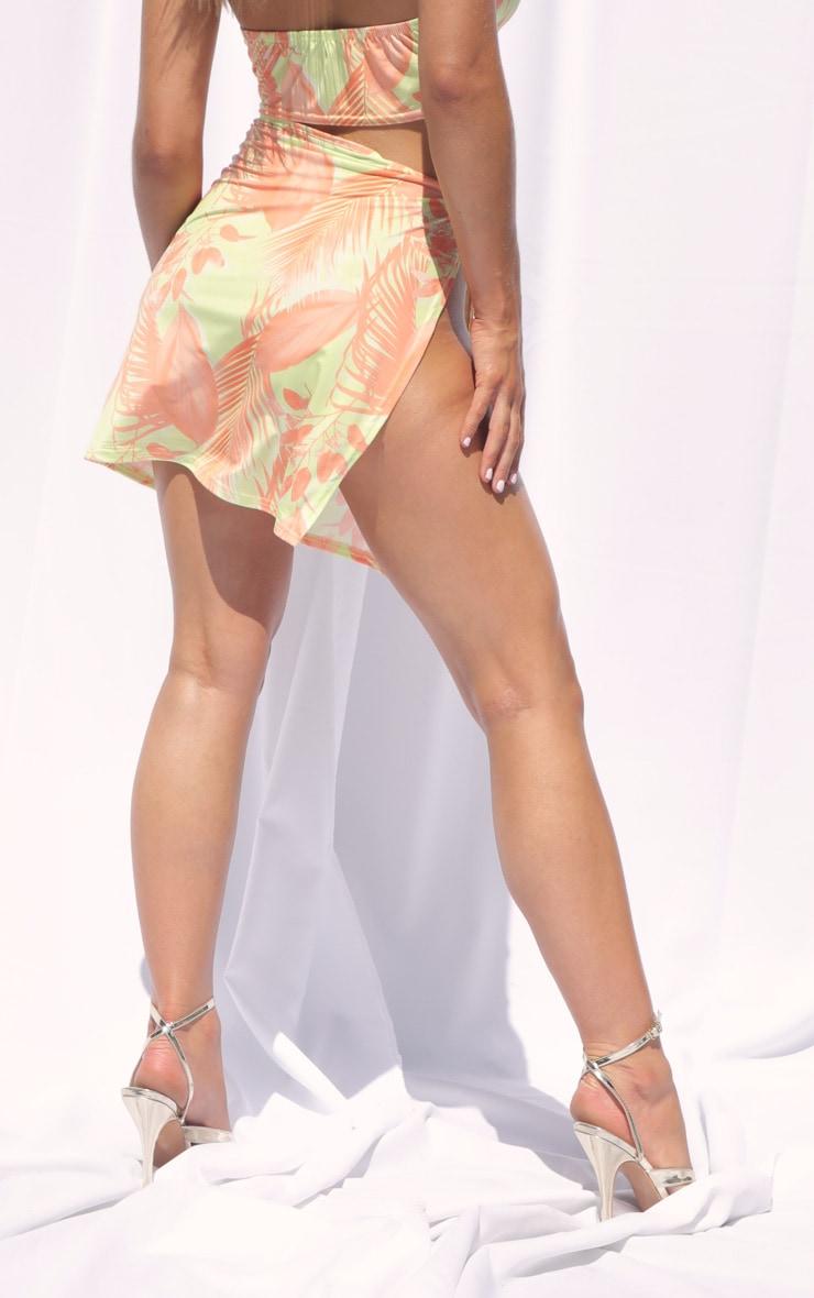 Yellow Tropical Print Slinky Split Tie Side Mini Skirt 3