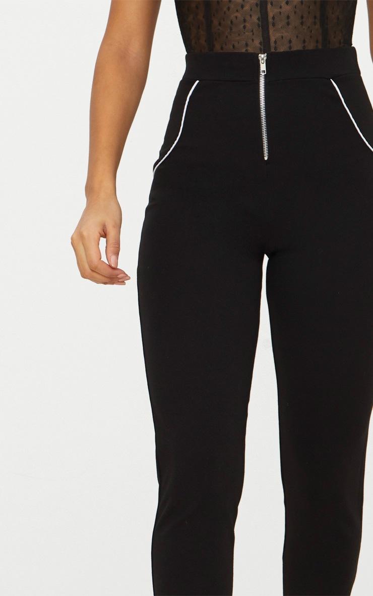 Black Crepe High Waist Zip Front Trouser  3