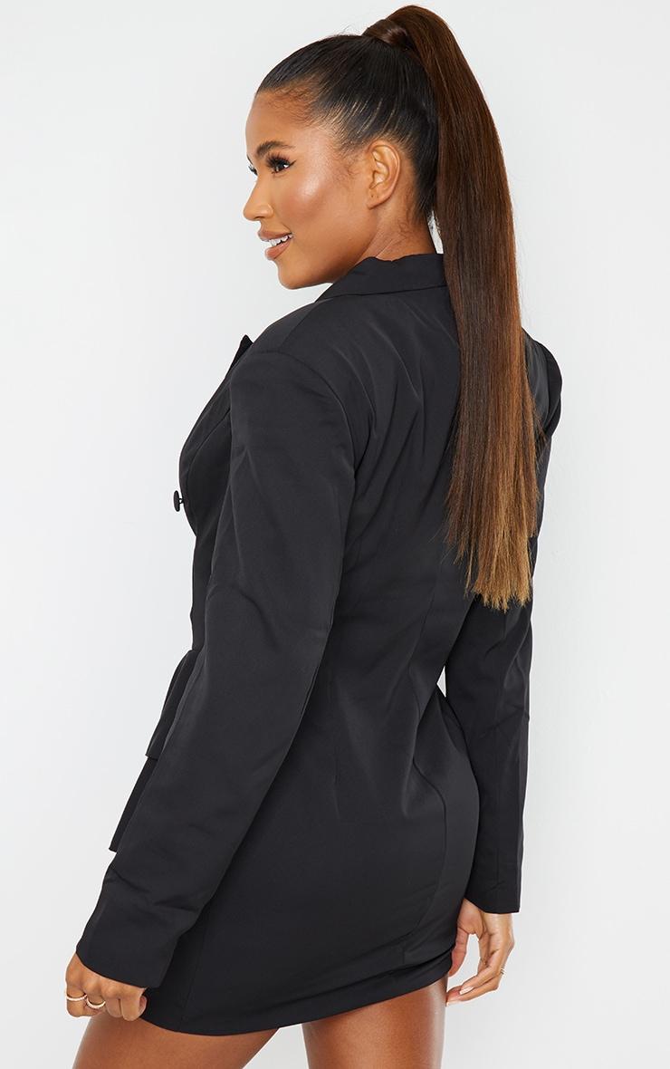 Black Peplum Frill Blazer Dress 2