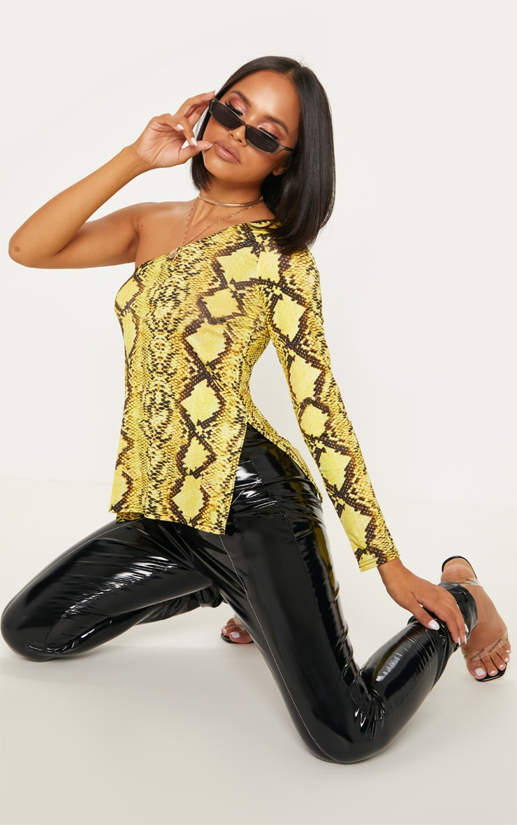 Yellow Snake Print One Shoulder Top 1