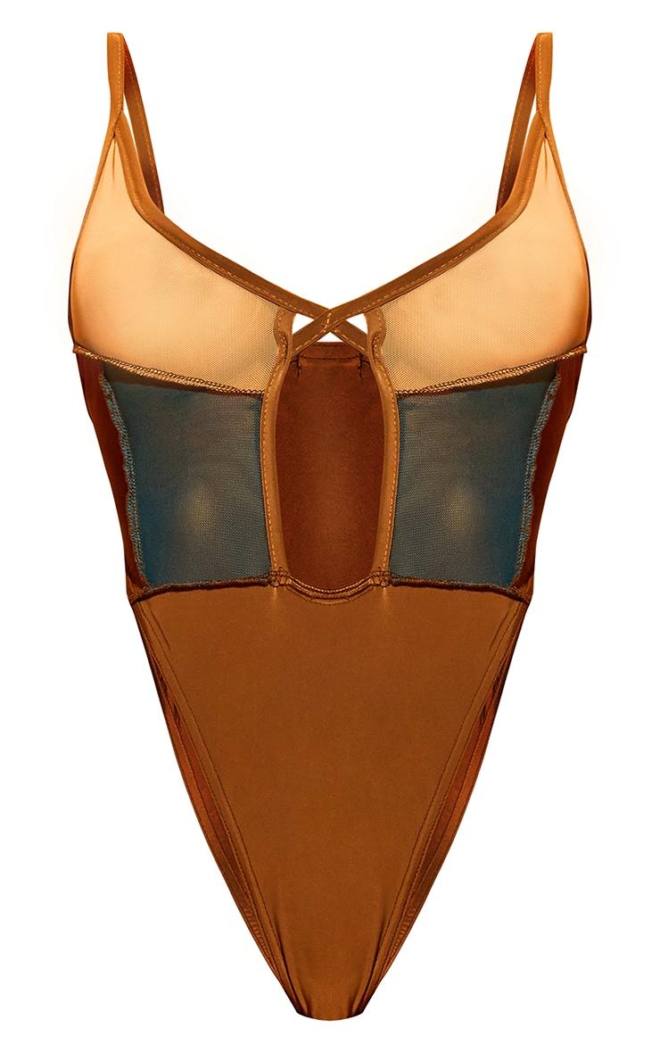 Shape Nude Mesh Panel Detail Lace Up Bodysuit 5