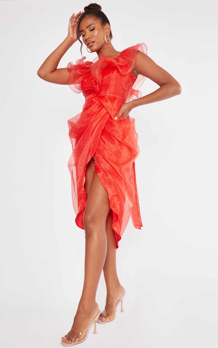 Red Organza Draped Frill Detail Midi Dress 1