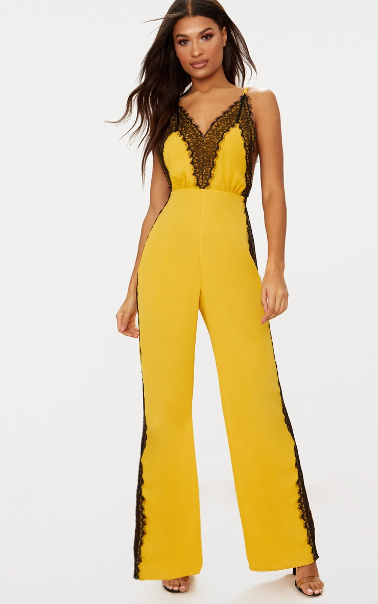 Yellow Contrast Lace Trim Jumpsuit by Prettylittlething