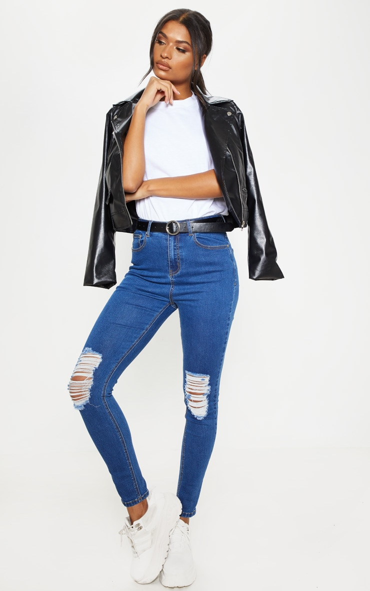 Mid Wash Knee Rip 5 Pocket Skinny Jean  1