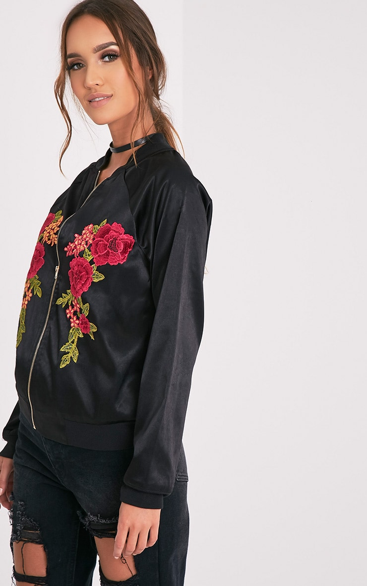 Challah Black Satin Applique Bomber Jacket 4