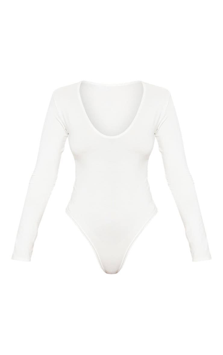 Petite Cream V Neck Basic Bodysuit 3