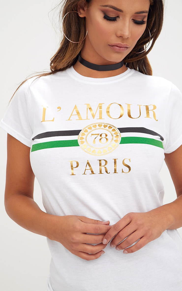 White Lamour Slogan Foil Print Slogan Fitted T Shirt 5