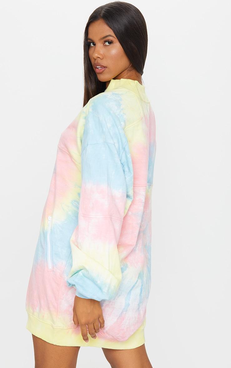 PRETTYLITTLETHING Tie Dye Double Zip Sweat Jumper Dress 2