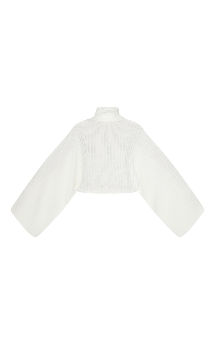 Cream Ribbed Knit High Neck Sweater  4