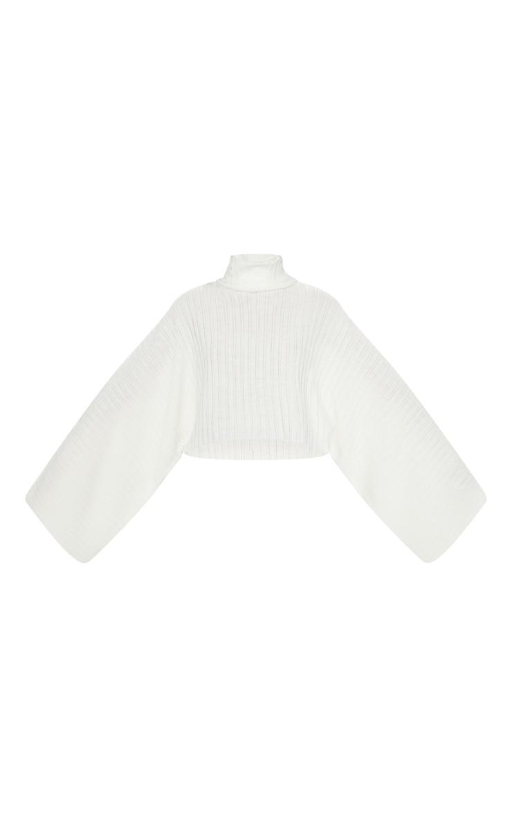 Cream Ribbed Knit High Neck Jumper  4