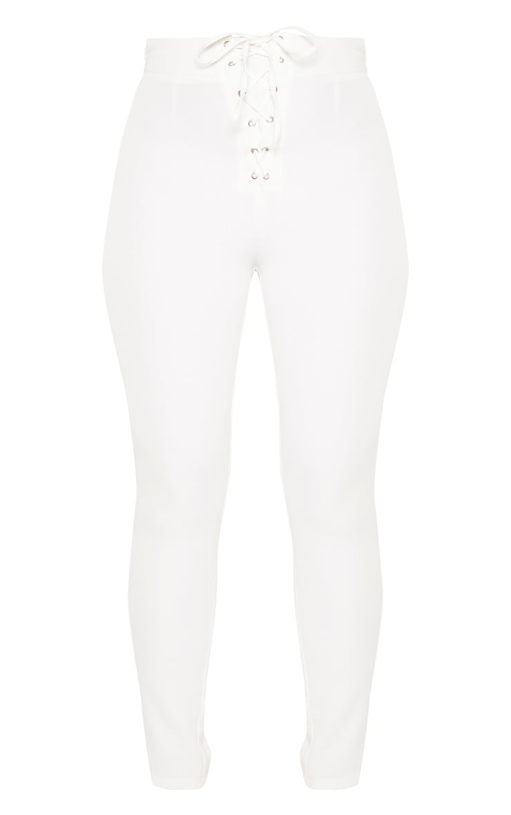 Plain White High Waisted Lace Up Straight Leg Trouser 3