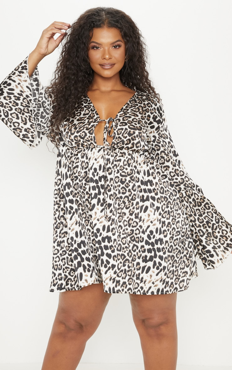 Plus Brown Tie Front Leopard Print Swing Dress 4