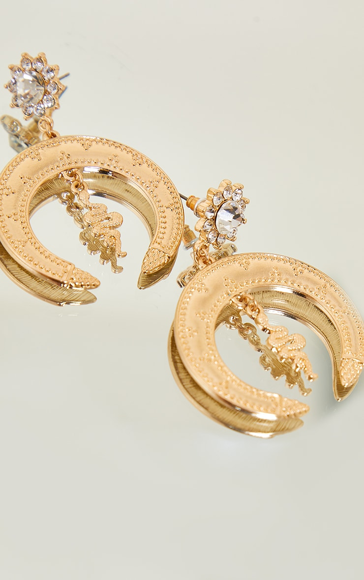 Gold Diamante Cluster Snake Statement Earrings 3