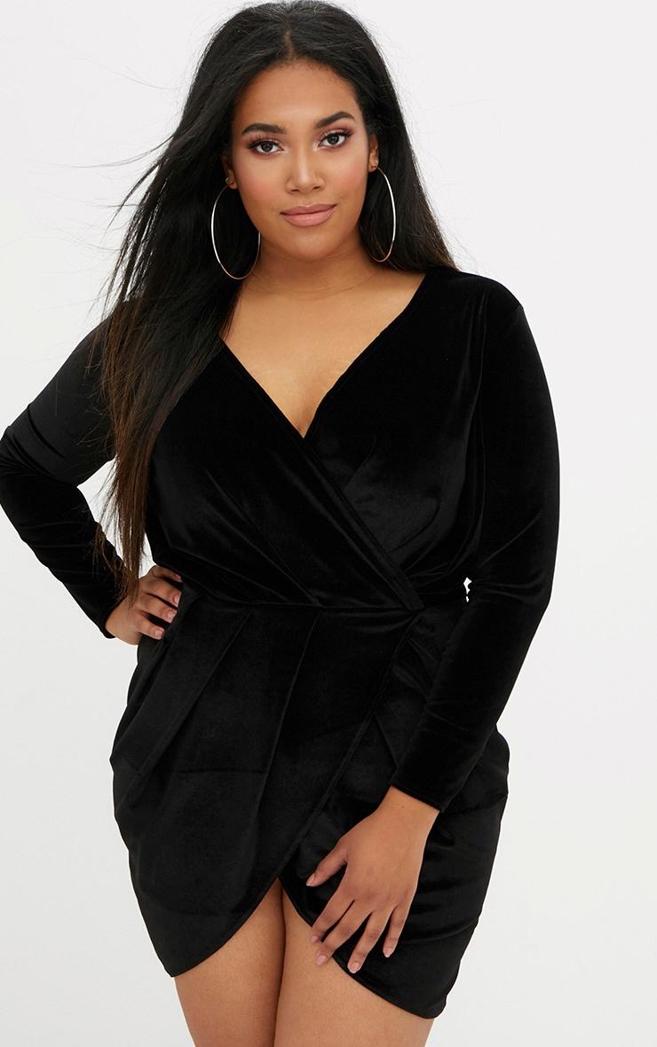 Plus Black Velvet Long Sleeve Wrap Dress 1
