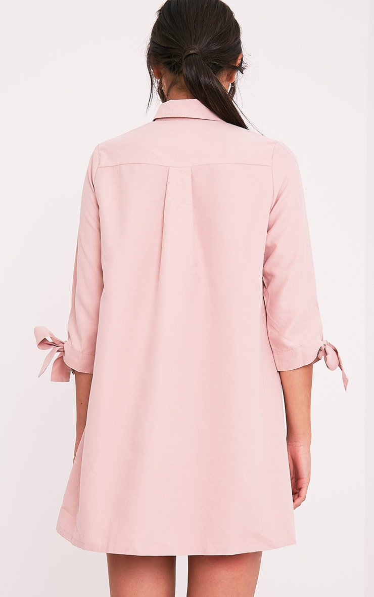 Maysia robe chemise à manchettes rose cendré 2