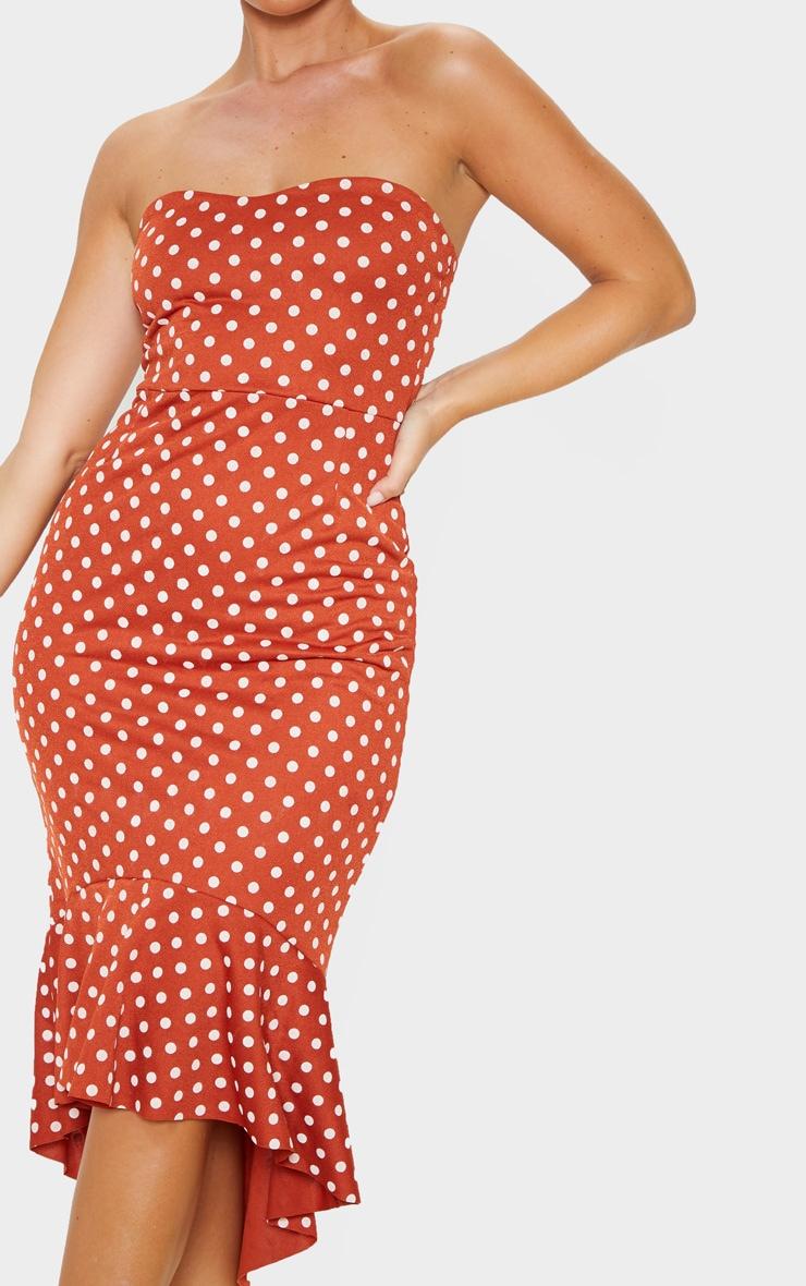 Terracotta Polka Dot Frill Hem Bandeau Midi Dress 5