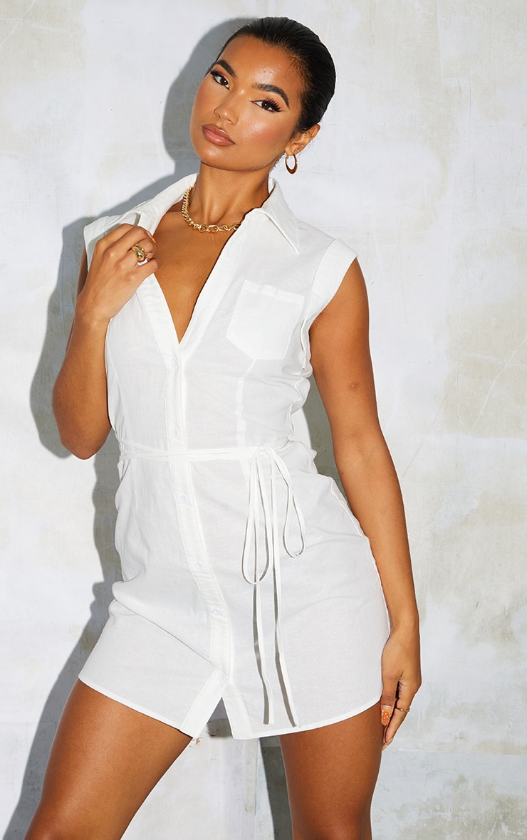 White Linen Polo Collar Wrap Tie Sleeveless Shirt Dress 3