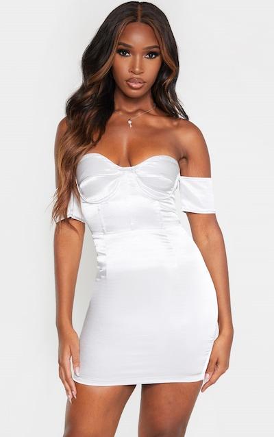 Ice Grey Satin Bardot Panelled Detail Bodycon Dress