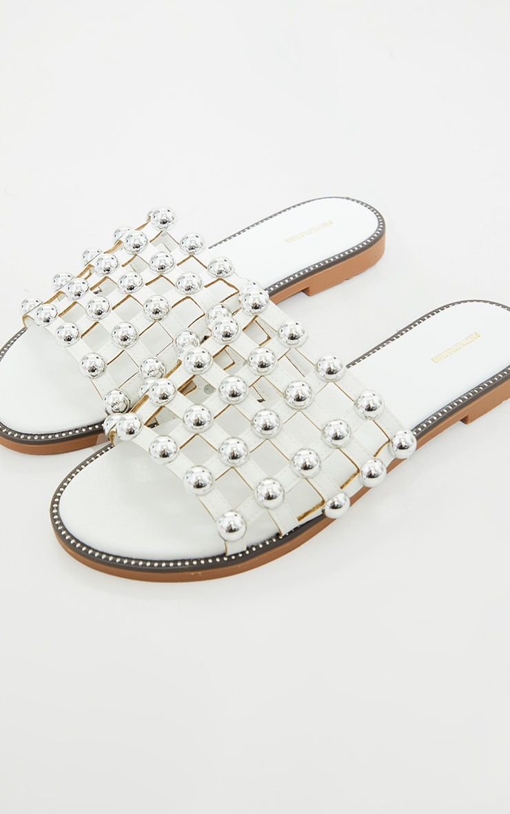 Alisa White Large Studded Sliders 3