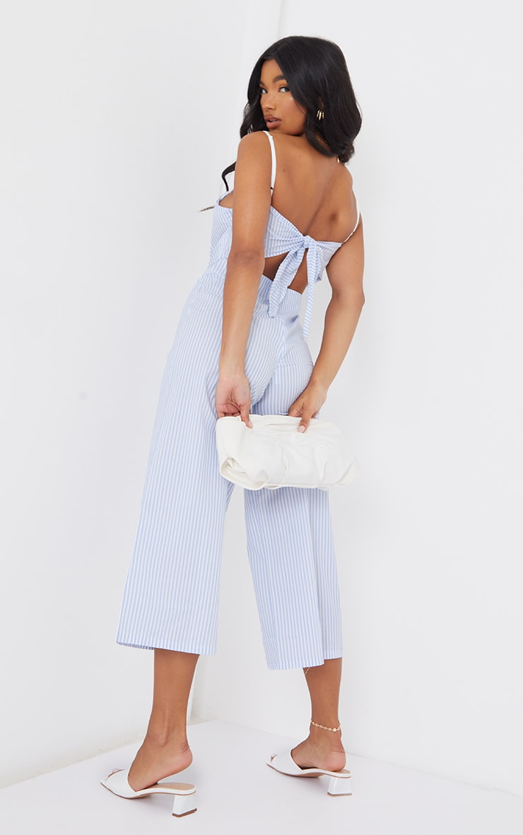 Blue Stripe Tie Back Culotte Jumpsuit 1
