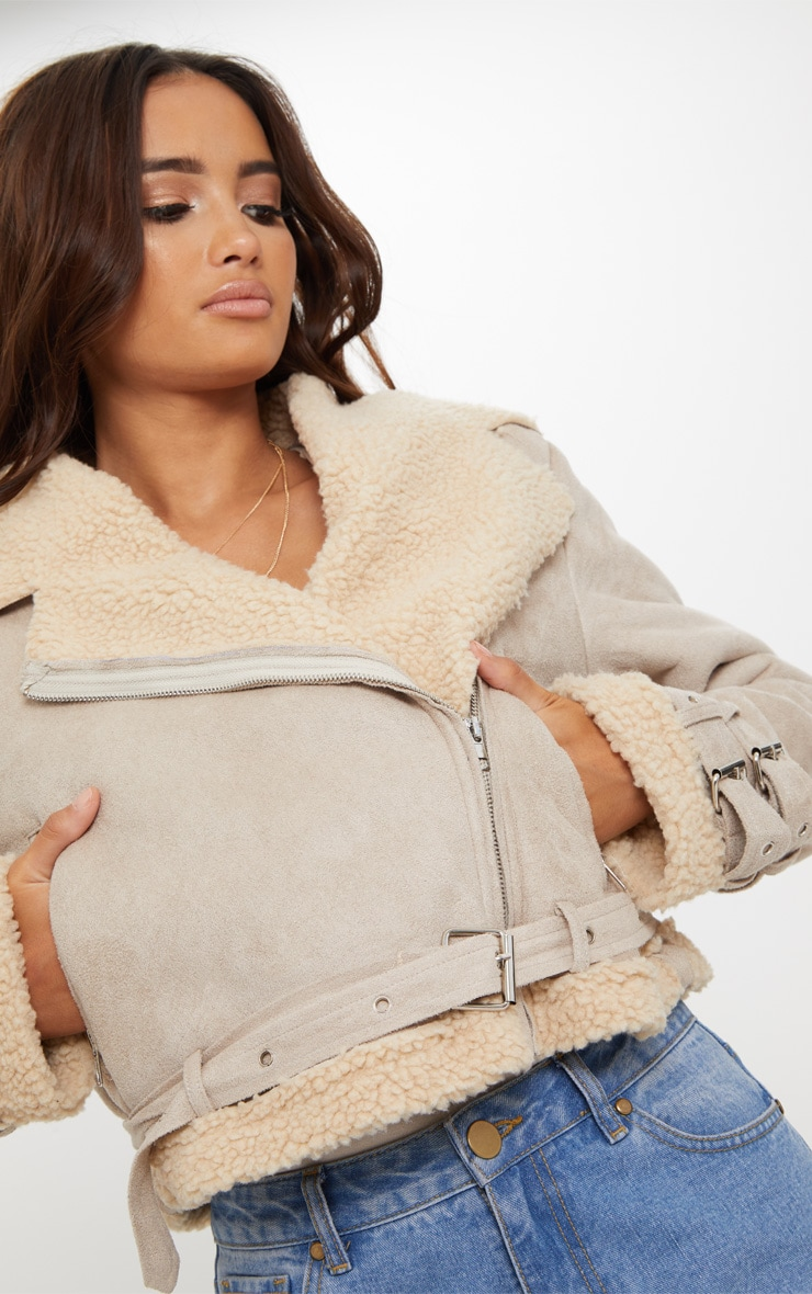 Beige Cropped  Aviator Jacket 5