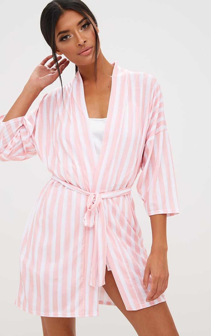 Pink Stripe Bride Dressing Gown 2