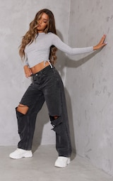 Grey Jersey Ruched Side Long Sleeve Crop Top 3