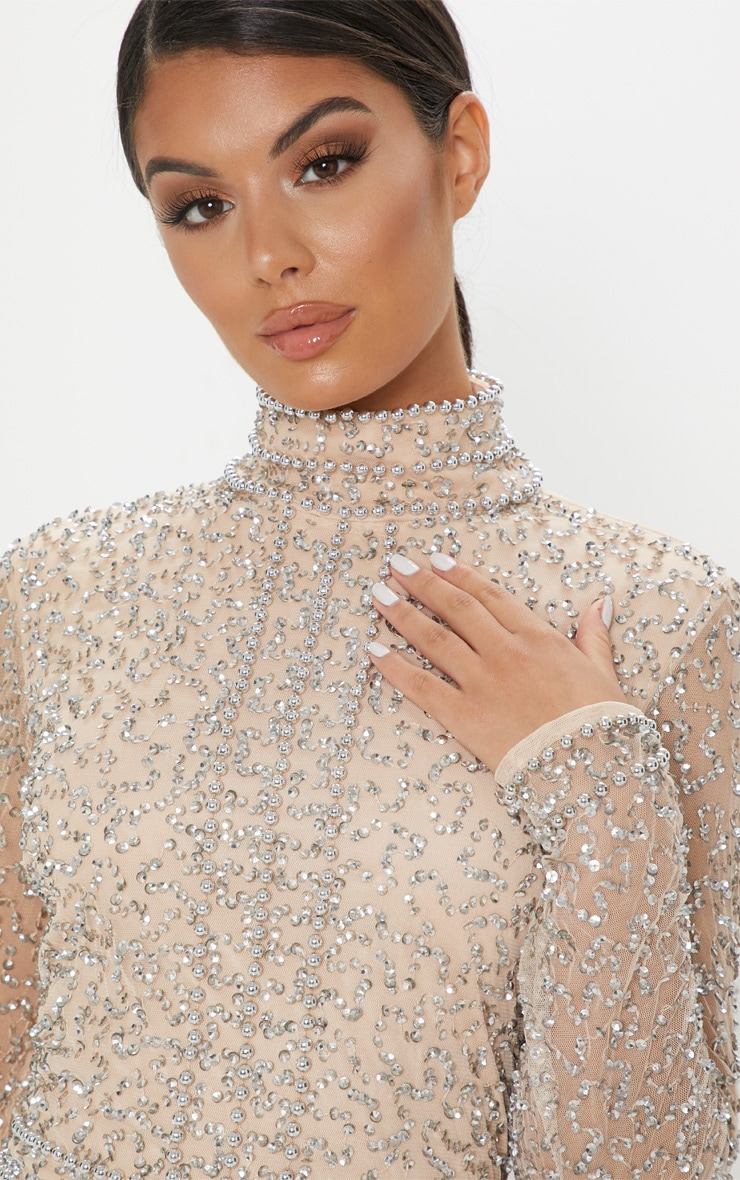 Nude Sequin Embellished High Neck Bodycon Dress 5