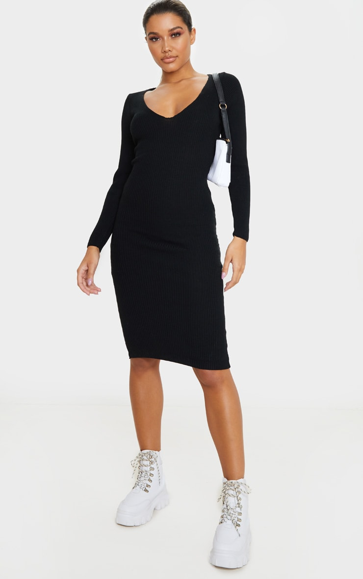 Black V Neck Knitted Midi Dress 1