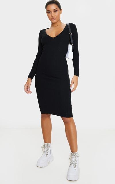 Black V Neck Knitted Midi Dress