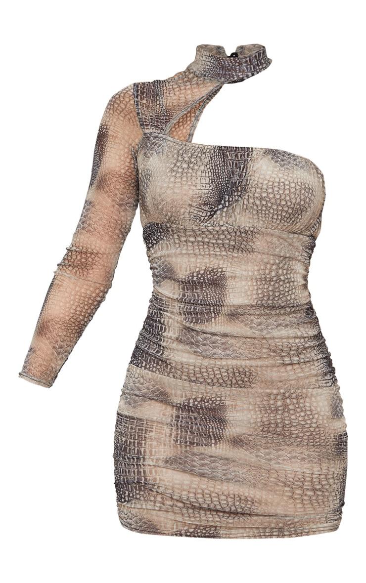 Robe moulante noire en mesh à col haut et manche longue en mesh  5