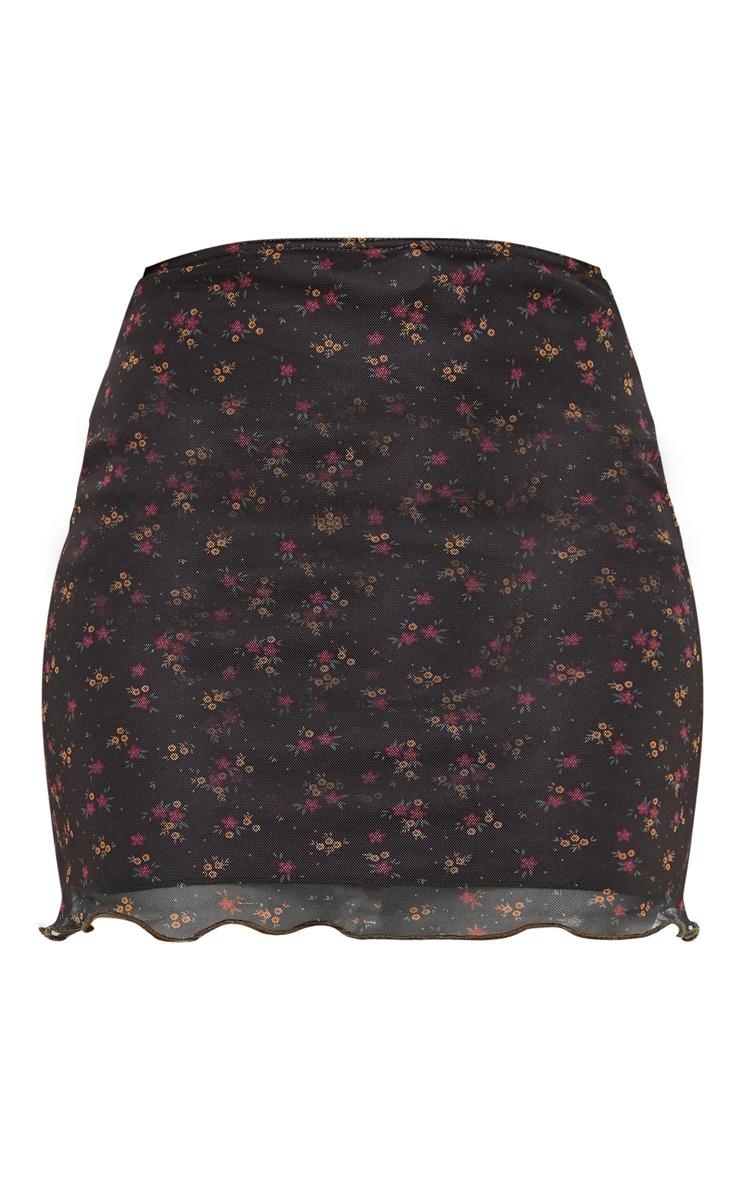 Black Ditsy Floral Print Mesh Lettuce Hem Skirt 3