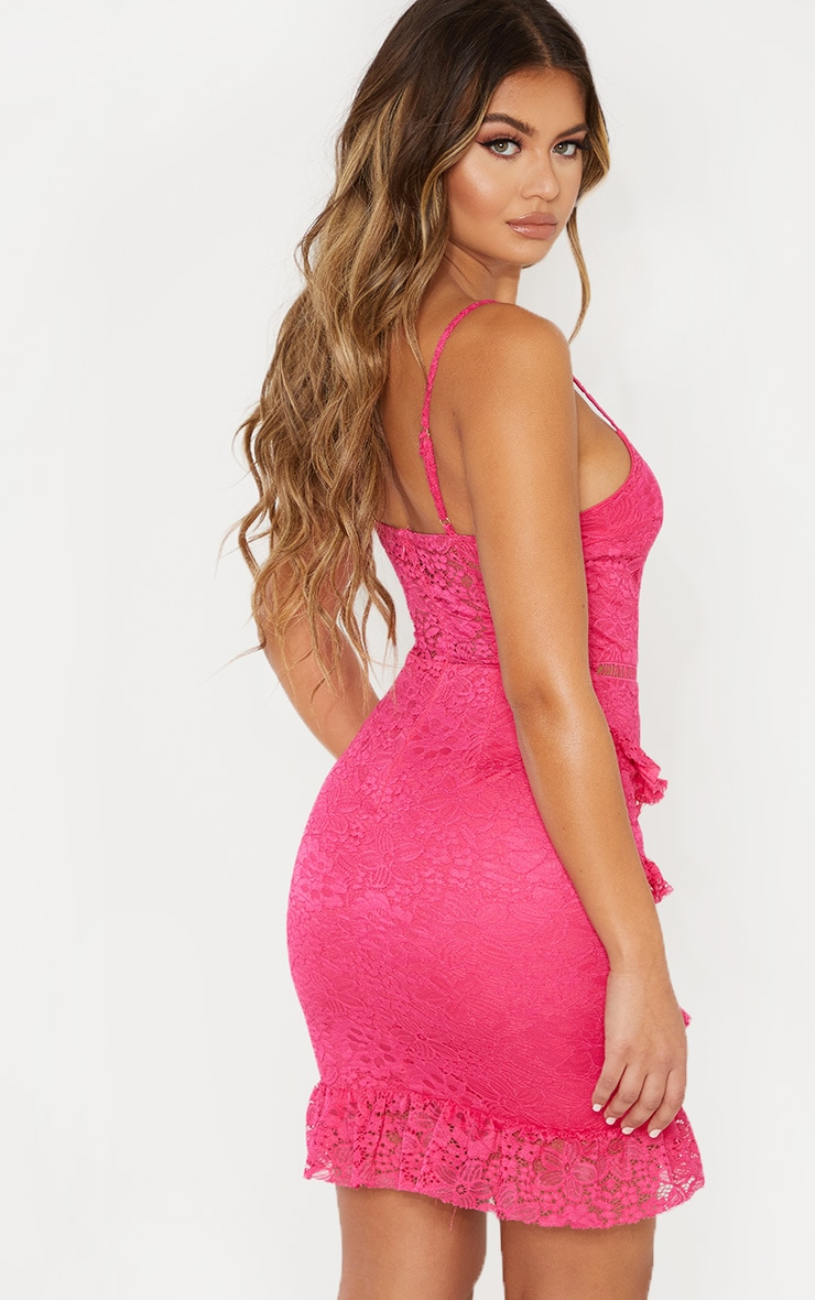 Hot Pink Lace Frill Skirt Bodycon Dress 2