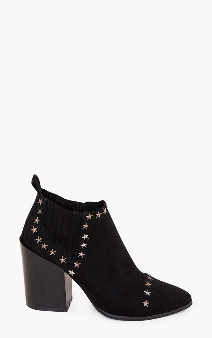Abra Black Star Studded Western Ankle Boots 3
