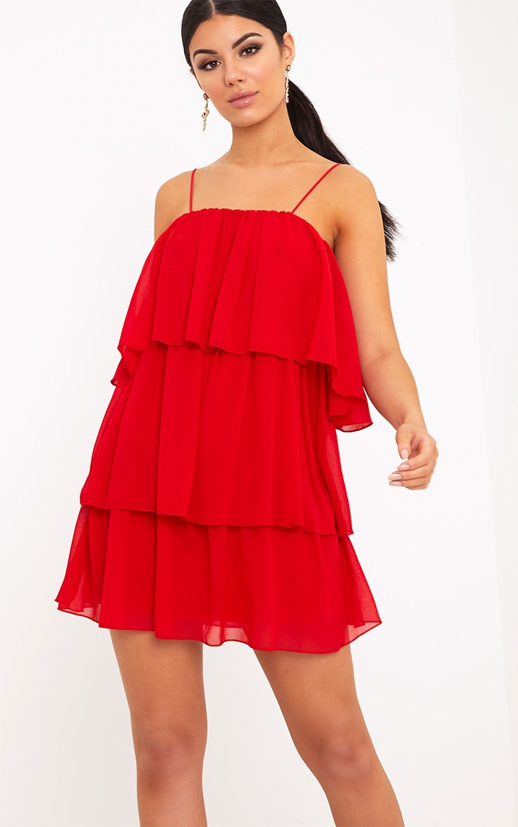 Indira Red Chiffon Frill Layer Shift Dress 1