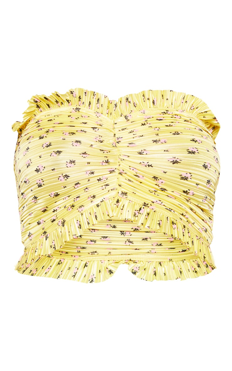 Yellow Ditsy Printed Pleated Bandeau Crop Top 3