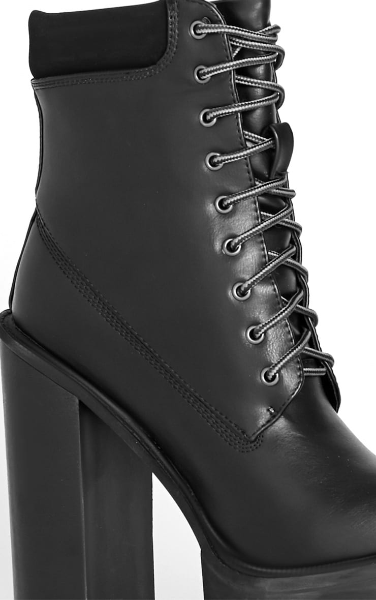 Imani Black Lace Up Cleated Heel Boot 5