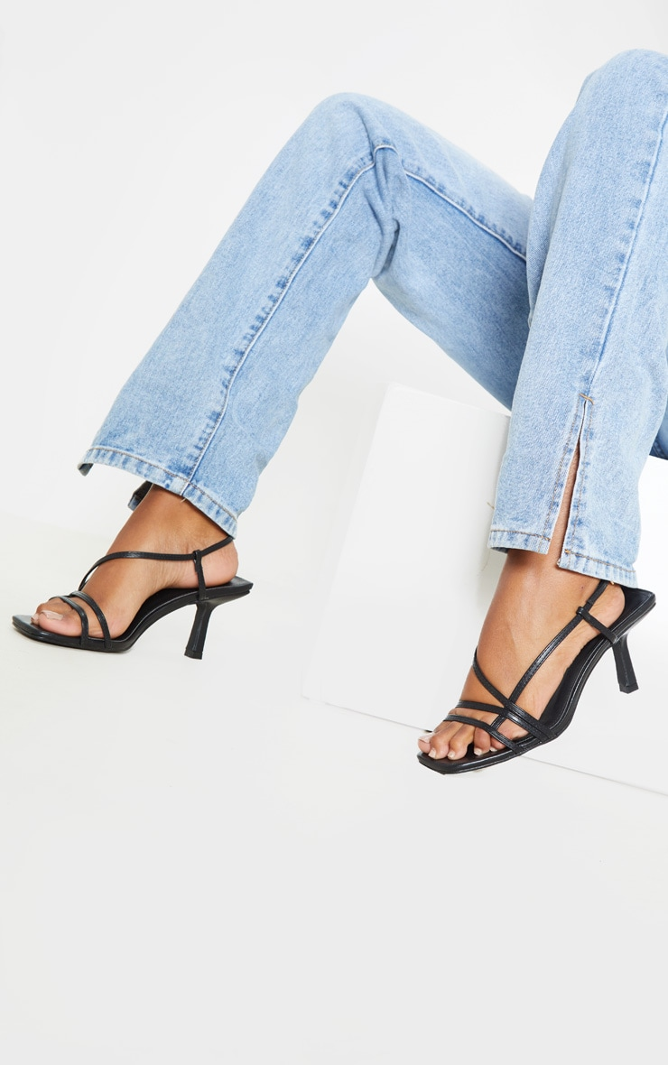Black Low Heel Strappy Sandal 1