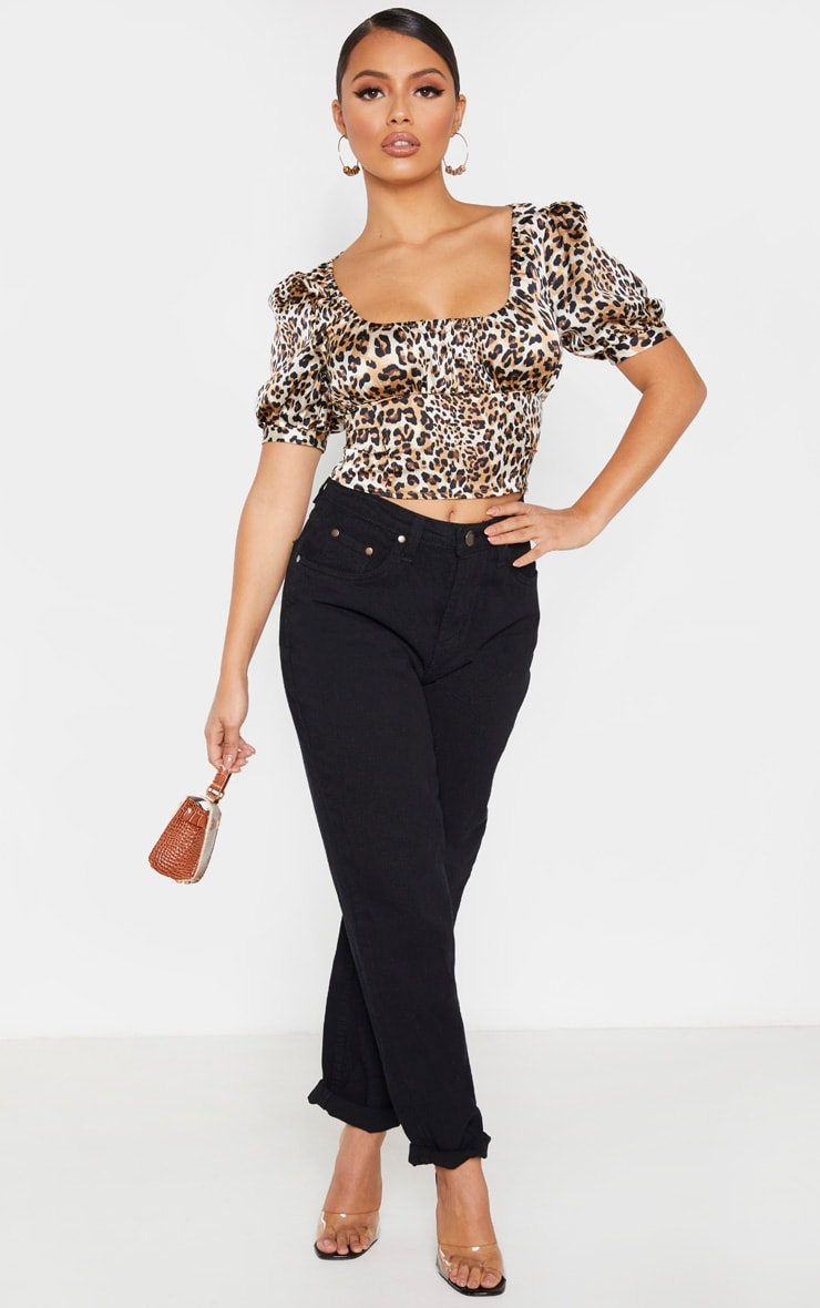Petite Leopard Puff Sleeve Cropped Blouse  4