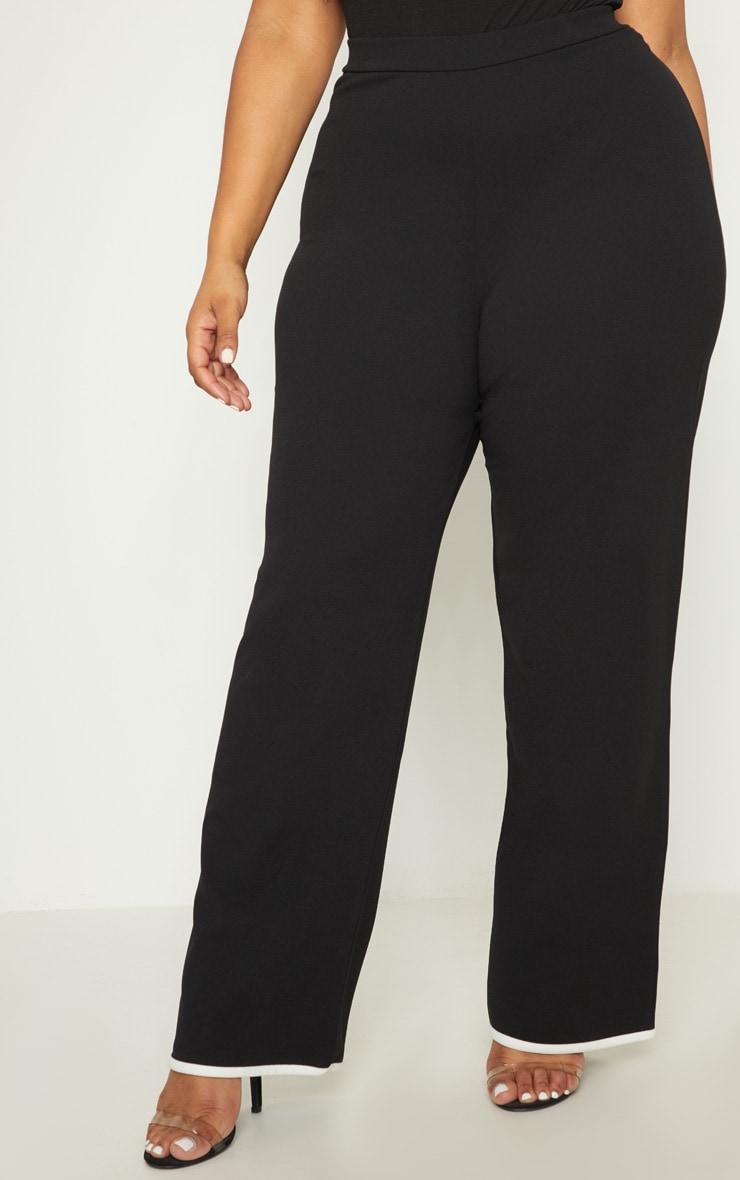 Plus Black Contrast Wide Leg Trousers 2
