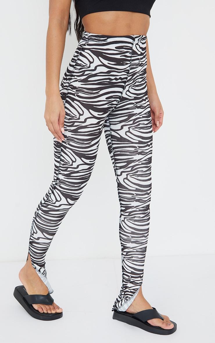 Monochrome Zebra Print Rib Contrast Stitch Skinny Pants 2