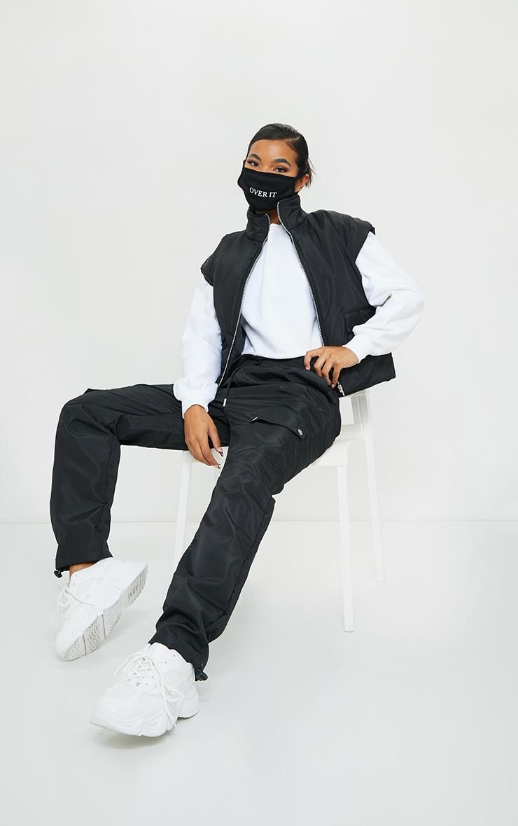 Black Shell Toggle Hem Pocket Detail Straight Leg Trousers 1