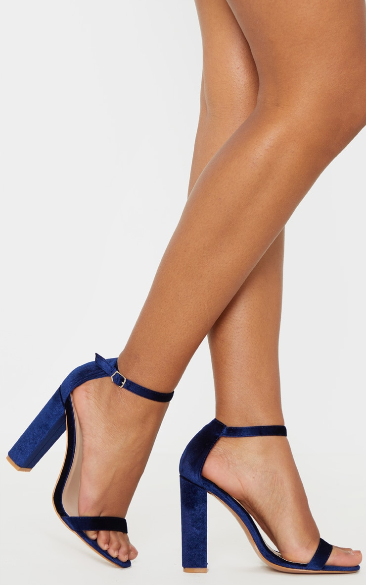 Navy Velvet May Heeled Sandals 2