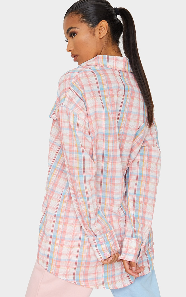 Baby Pink Checked Oversized Shirt 2