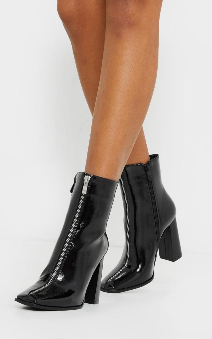 Black Zip Front Block Heel Ankle Boot 1