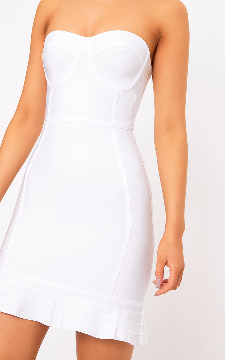 Presli White Bandage Frill Hem Bodycon  Dress 4