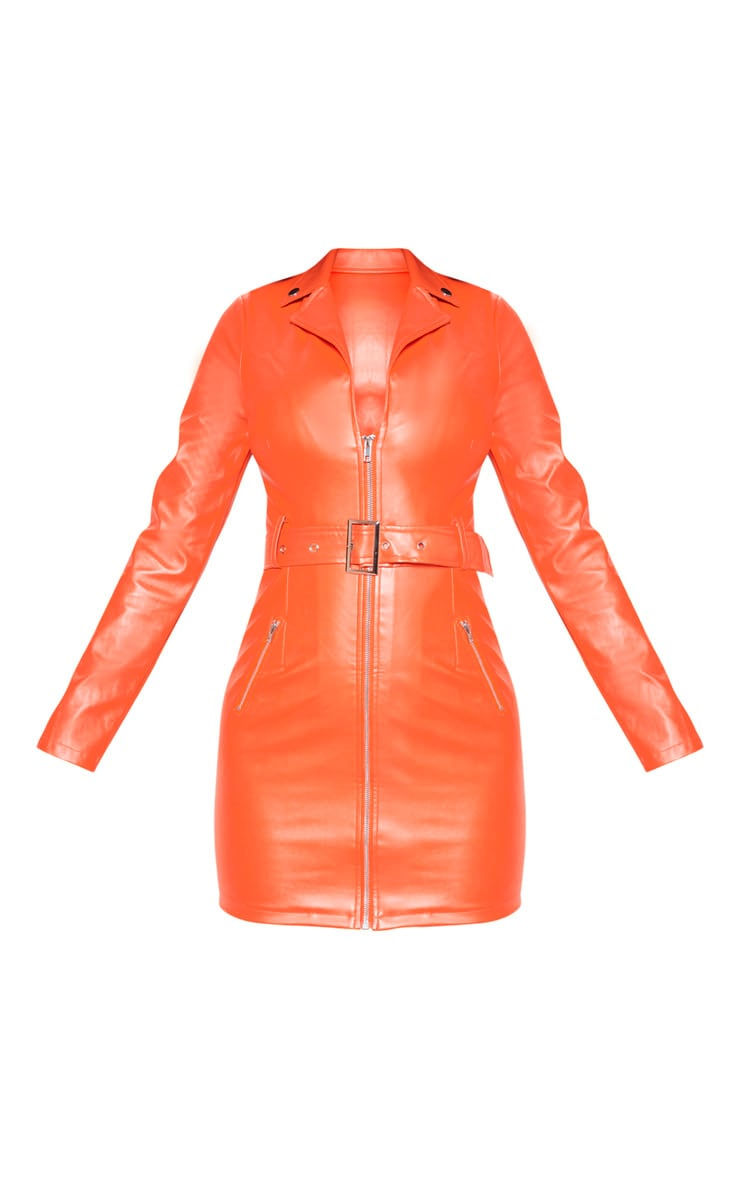 Orange Faux Leather Biker Buckle Bodycon Dress 3