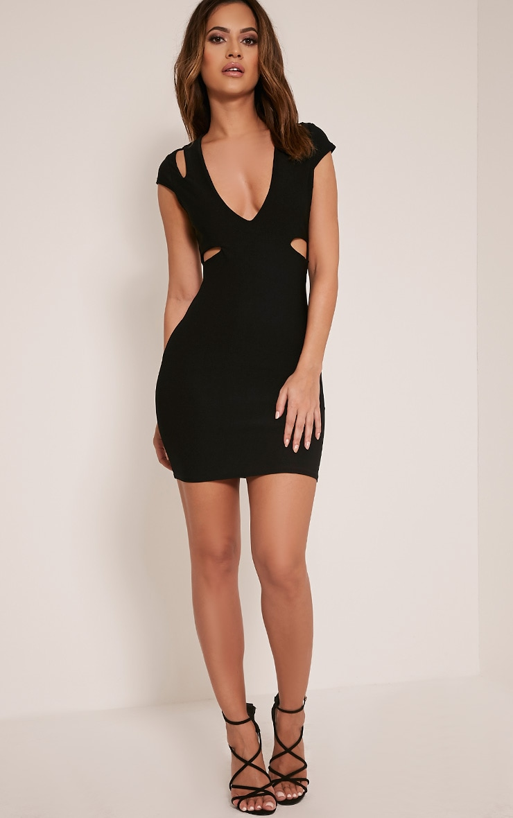 Tamzie Black Cut Out Detail Capped Sleeve Bodycon Dress 10